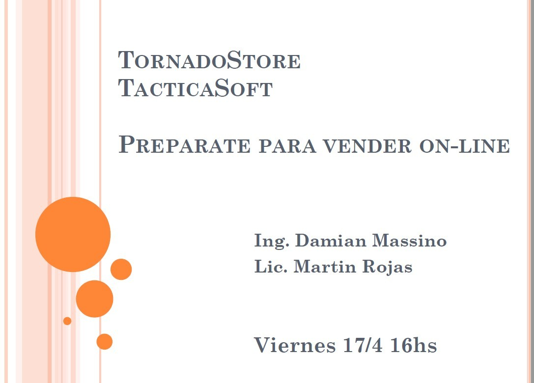 Seminario Preparate para Vender On-line con Tactica y TornadoStore